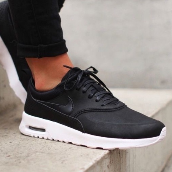 Faux Leather Black Slip Dress with Sneakers: Nike Air Max Thea